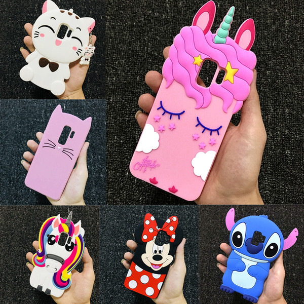 Custodia 3D Cartoon Custodia morbida in silicone Cover per Samsung S9 S8 Plus S6 S7 Edge A3 A5 A6 A7 A8 J3 J4 J5 J6 J7 J8 2016 2017 2018 Pro