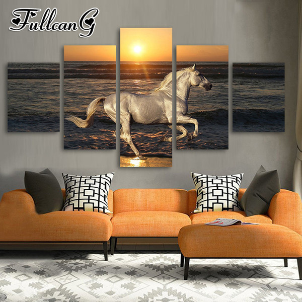 wholesale 5 piece diy diamond painting sunset seascape horse full square/round drill 5d mosaic embroidery multi-picture FC692