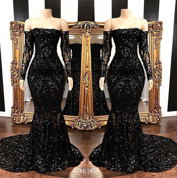 best selling Black Off The Shoulder Sequins Long Sleeves Mermaid Evening Dresses 2019 Lace Applique Sweep Train Formal Party Prom Wear Dresses BC1454
