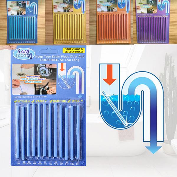 12pcs / set Sticks bleu Sewer Rod dégorgeoir Cuisine Toilette Baignoire égoûts Décontamination Pour Déodorant égouts outil de nettoyage