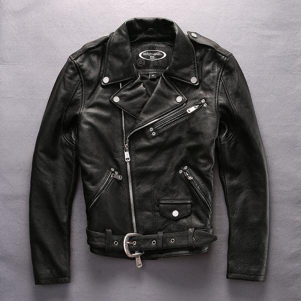 ANJO 2017 Chegada nova motocicleta homens jaqueta de couro genuíno turn-down motociclista jaqueta casaco preto dos homens de colarinho cowskin