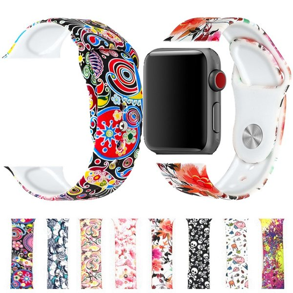 Fashion flower pastoral printing silicone bands straps for apple watches 38mm 40mm 42mm 44mm beautiful rubber wrist watchbands accessories