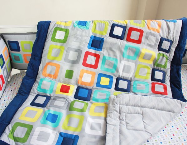 Embroidery Colorful Tetris Crib bumper set 9Pcs Baby bedding set Cotton Baby boy Cot bedding set Baby Quilt Bumper Skirt Diaper bag Blanket