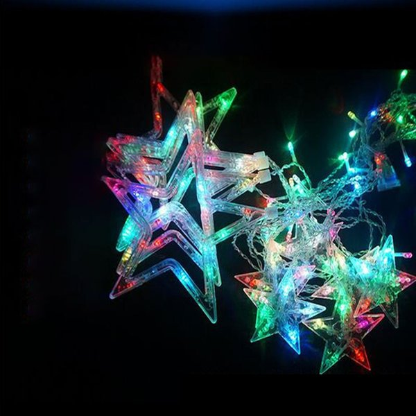 2.5M Star Curtain Light String LED Light 8 Function 12 Star Wedding Wreath Birthday Party