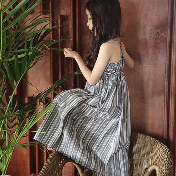 Dos Nu Mère Fille Fille Robes Assorties Plage Casual Été Vêtements De Famille Lin Mélange Coton Outwear