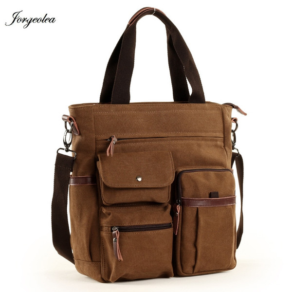Jorgeolea Men Canvas Business Briefcase Versatile Casual Handbag For Men Travel Satchel E502 #30510