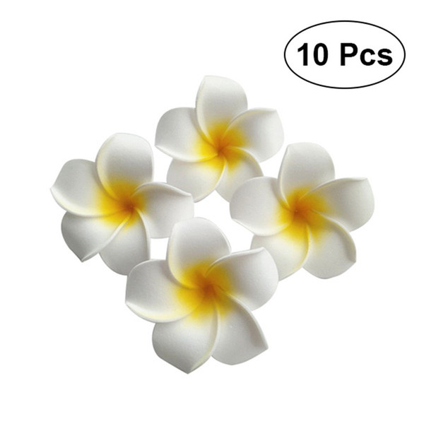 Event Party Holiday DIY Decorations 10pcs 7cm Hawaii Flower Hair Clip Hairpin Simulation Egg Flower Headdress for Beach Luau Party (White