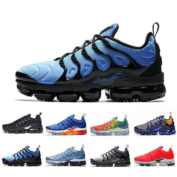 2019 TN Plus Men Running Shoes Triple Black White Sunset Photo Blue Wolf Grey USA Designer fashion luxury mens women designer sandals shoes