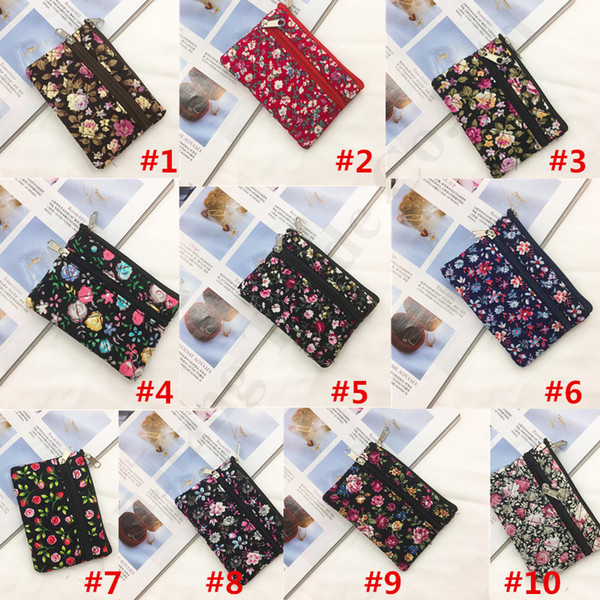 Trendy Floral Print Children Mini Wallet Purse Double Zip Pouch Women And Girls Coin Purse Handbag Cute Key Card Holder Xmas Gifts C103003