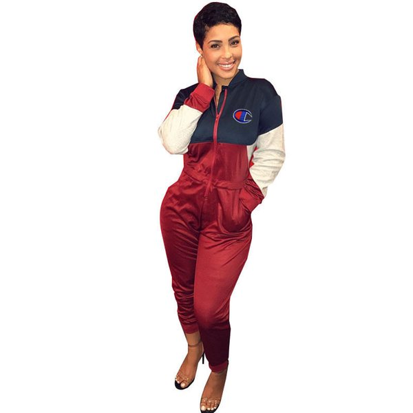 Women Champions Jumpsuits Patchwork Long Sleeve Rompers Turtleneck One Piece Pants Overalls Letter Designer Jumpsuit Zipper Outfits Clothing