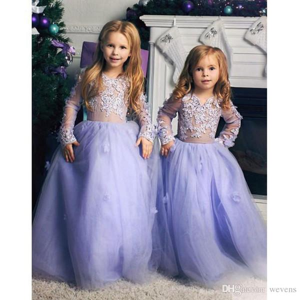 Lavender A-line Long Tulle Flower Girl Dresses Jewel Neck Long Sleeve Child Prom Dress for Weddings Lace Appliques Bridesmaid Children Dress