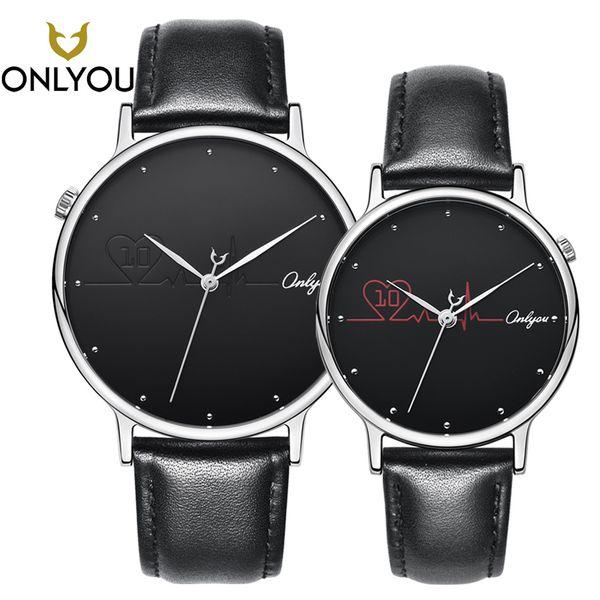ONLYOU Mode Frauen Uhr Lederband Elegante herzförmige Kreative Quarz Armbanduhr Weibliche Casual Männer Uhr Liebhaber Geschenk