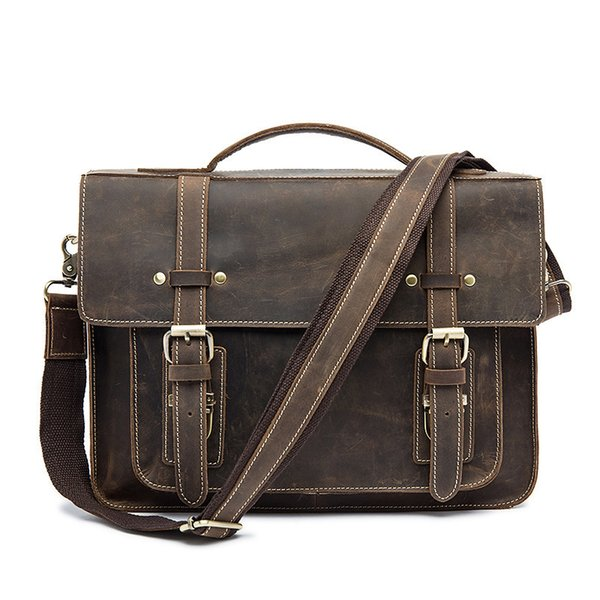 Horse Business Briefcases Genuine Leather Men Bag Soft Handle Zipper Solid Vintage Laptop Bag For Men Mens Bags Briefcase