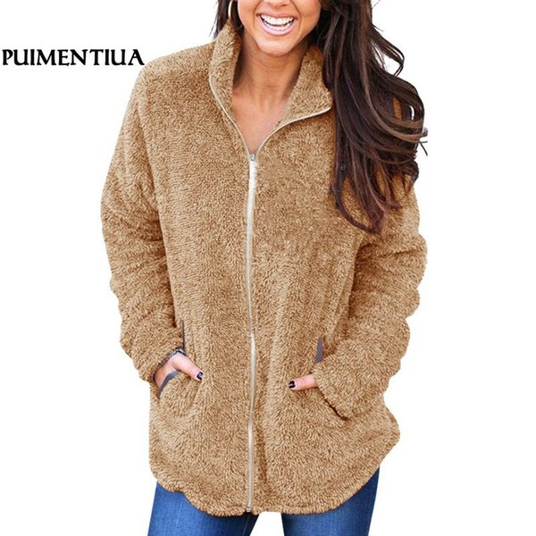 Puimentiua Winter Warm Fleece Women Sweatshirt Hoodies Jacket Autumn Long Sleeve Female Coat Casual Faux Fur Teddy Coat 2019