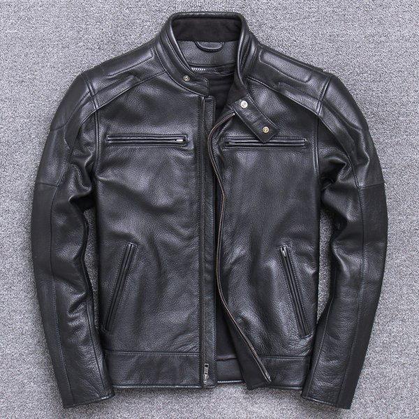 VIIBOY MAN'S motorcycle suit coat with thick layer of cowhide genuine leather Men's motor cycling jerseys