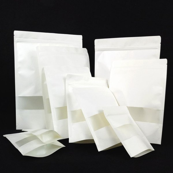 100pcs/lot White Paper Frosted Window Ziplock Bag Doypack Gift Bakery Cookie Packaging Bag Plastic PE Inlay Self Sealing Bags