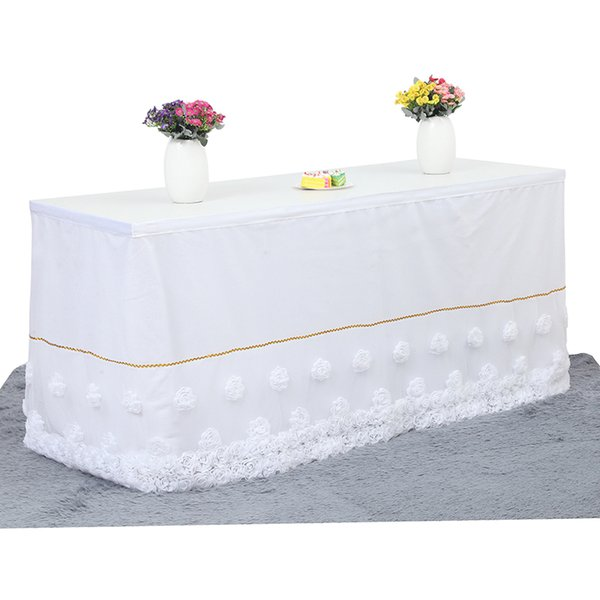 Tulle Table Skirt Flower Inlaid Table Cloth Wedding Decoration Tableware for Birthday Baby Shower Party