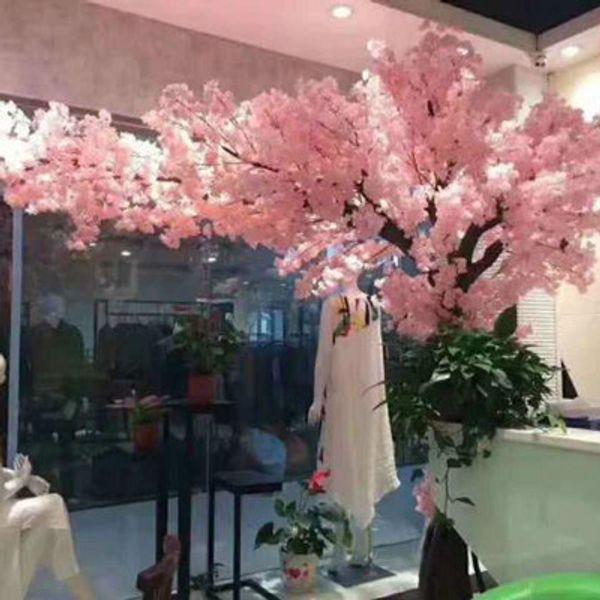 5adet Düğün Dekorları Beyaz Pembe şampanya için Tek Şubesi 4 çatal Yapay Kiraz Çiçeği Şube İpek kumaş Çiçek Bitki
