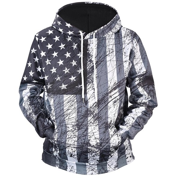 Men's American Flag Print 3D Hoodies Long Sleeve Close-fitting Pocket Sweatshirt Tops Plus Size Male Tracksuit Casual Streetwea