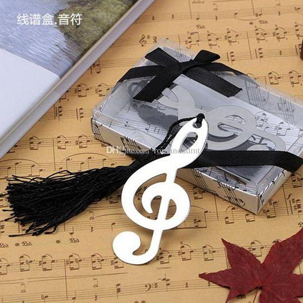 Музыкальная нотация Закладки с черными кисточками Металл Для свадьбы пользу Baby Shower подарки на свадьбу + DHL Бесплатная доставка