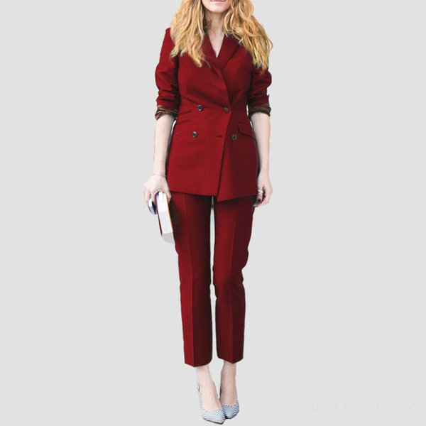 New Arrivals Burgundy Autumn Formal Women Business Ladies Office Work Wear Suits Womens Tailored 2 Piece Suits Custom Made