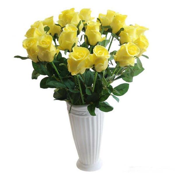Flores artificiais decorativas Real Toque De Seda PU Rose Flor Longa Haste Rose para o Casamento Dos Namorados Partido Home Office Decoração Artesanato Ao Ar Livre