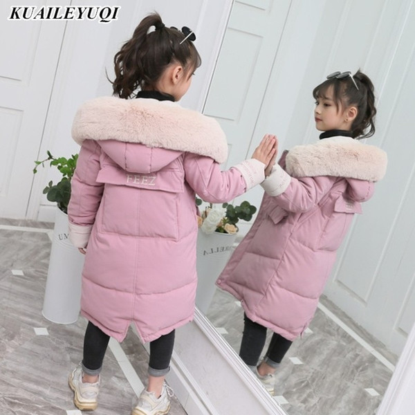 top popular 2019 New Fashion Girls clothing Winter Warm down Cotton Jackets Children Fur Collar Coats Girl Thickening Hooded kids Clothes MX191030 2021