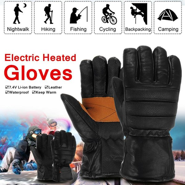 Rechargeable Electric Heated Gloves Winter Warmer With Li-ion Battery PU Leather+Non-slip Cloth+Plush Windproof Waterproof