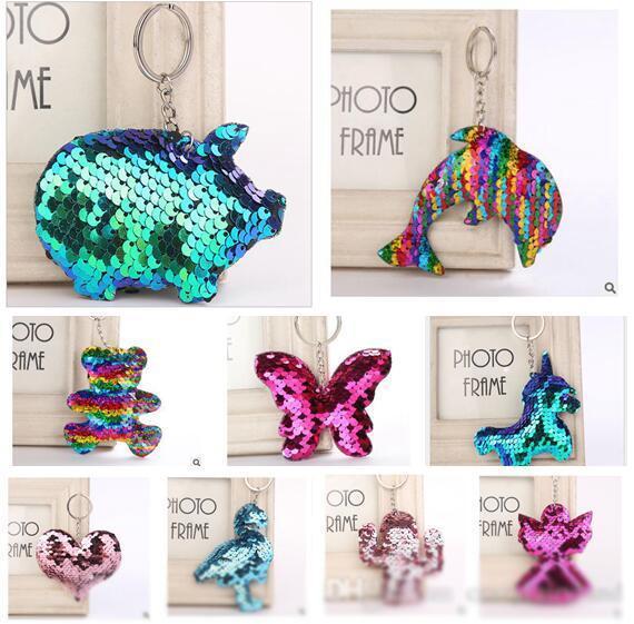 Giocattoli per bambini Keychain 94 Stili Glitter Paillettes Sirena Charms Paillette Pendenti Portachiavi FAI DA TE Mermaid Portachiavi Accessori gioielli Migliori regali