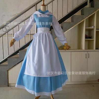 Cosplay beauty and beast Belle belle maid wear COS clothes princess spot game anime costume Free Shipping Hot