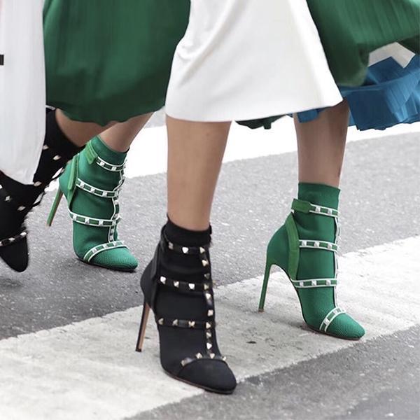 Mais recente ankle boots Cage Studs meia bootie design de couro aparado esticar com nervuras de malha sapatos de luxo para as mulheres 10 cores tamanho grande com caixa
