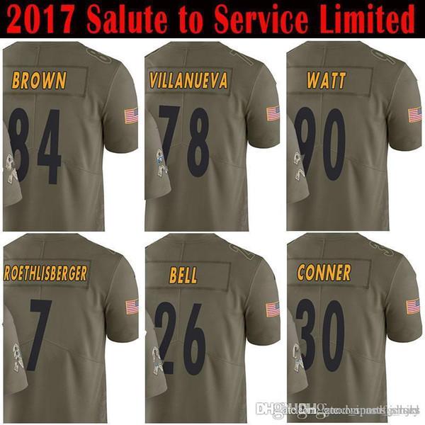 best service 85eb9 7dfe4 2019 84 Antonio Brown 7 Ben Roethlisberger 21 Joe Haden Jersey 90 T.J. Watt  78 Alejandro Villanueva James Conner 26 Le'Veon Bell Jerseys From ...