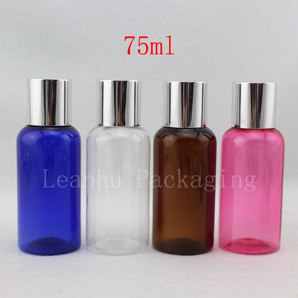 75ml X 50 Empty Cosmetic Travel Bottles With Silver Screw Lid , Small Plastic Bottle Lid,Shampoo Container For Cosmetics Pack