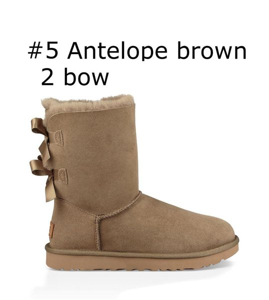 Cheap designer Australia women classic snow boots ankle short bow fur boot for winter black Chestnut fashion women shoes size 36-41 N001