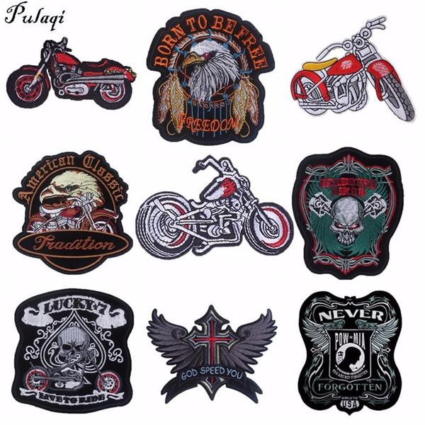 Pulaqi Punk Rock Bisiklet Yamalar Nakış Biker Aplikler Giysi Için Motosiklet Demir On Yamalar Kot Yelek Ceket Geri Yama H