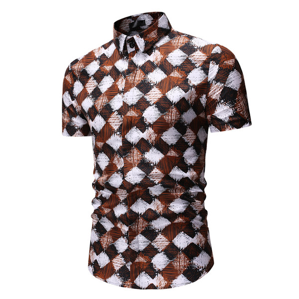 Mens Summer Shirt 2019 Brand Short Sleeve Plus Size Floral Shirts Men Casual Holiday Vacation Clothing