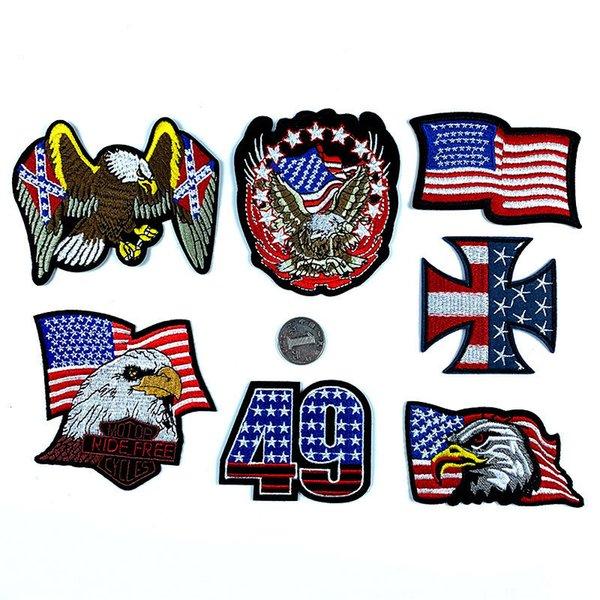 7 adet / grup ABD bayrağı yama Amerikan yıldız bayrağı kartal Bayrak Işlemeli DIY Etiketleri giysi farbic moda Yamalar parti favor FFA2710