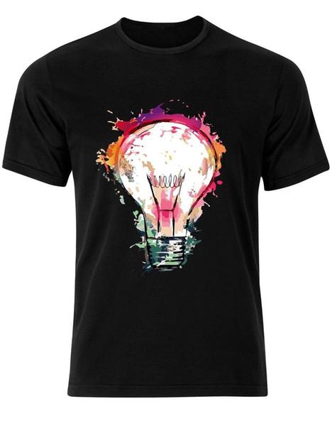 Colourful Light Bulb This Mens Tshirt Tee Top Funny AJ90 Mens 2018 fashion Brand T Shirt O-Neck 100%cotton T-Shirt Tops Tee