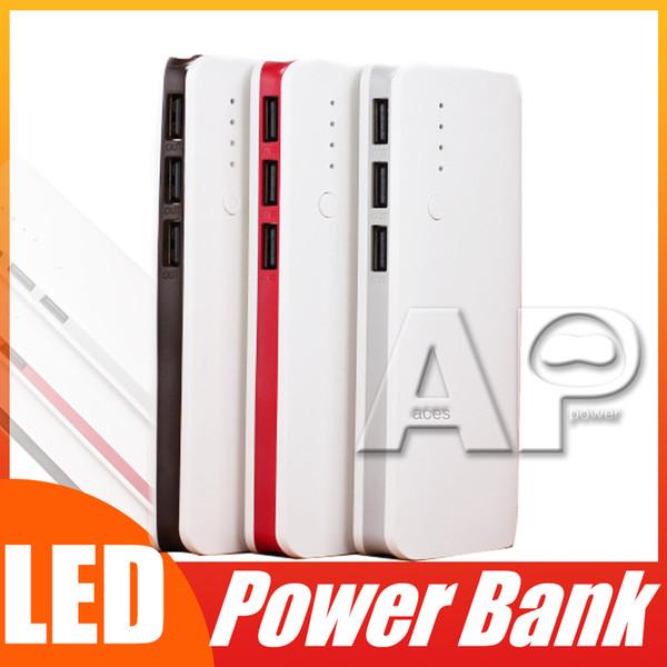 En çok satan Yüksek Kalite Taşınabilir 10000 mAh Güç Bankası 3 USB LED Işık Yedek Pil Şarj iphone X 8 Samsung Huawei