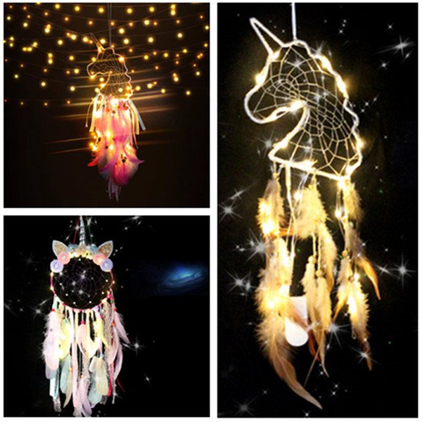 top popular LED Wind Chimes Unicorn Handmade Dreamcatcher Feather Pendant Dream Catcher Creative Hanging Craft Wish Gift Home Decoration 11 styles 2021