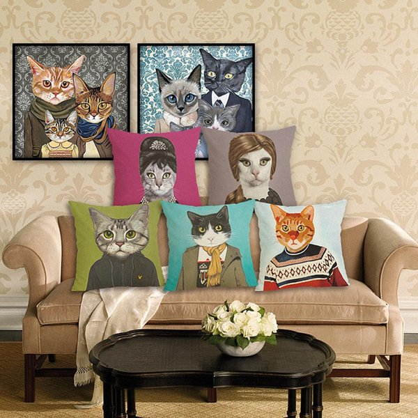 45cm Cat Animal Pattern Cotton Linen Fabric Throw Pillow 18inch Fashion Hotal Office Bedroom Decorate Sofa Chair Cushion
