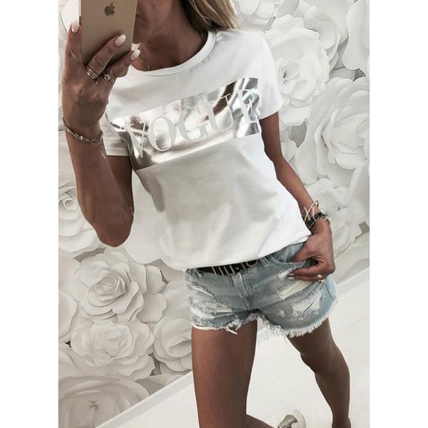 top popular Women Vogue Print T shirt Womens Letter Top Summer Short sleeve Shirt Fashion Tshirt Cotton T shirts Ladies Tee 2021