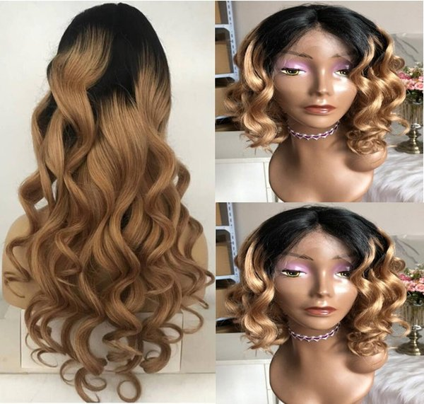 Celebrity Wigs Full Lace Wig High Quality Loose Wave Ombre Color 1bT4 Malaysian Virgin Human Hair Two Tone Lace Front Wig Free Shipping