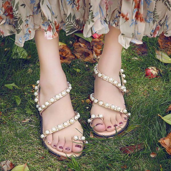 Fashion Women Sandals Summer Shoes Flat Pearl Sandals String Beads Comfortable Sandalias Sapatos Femininos Casual