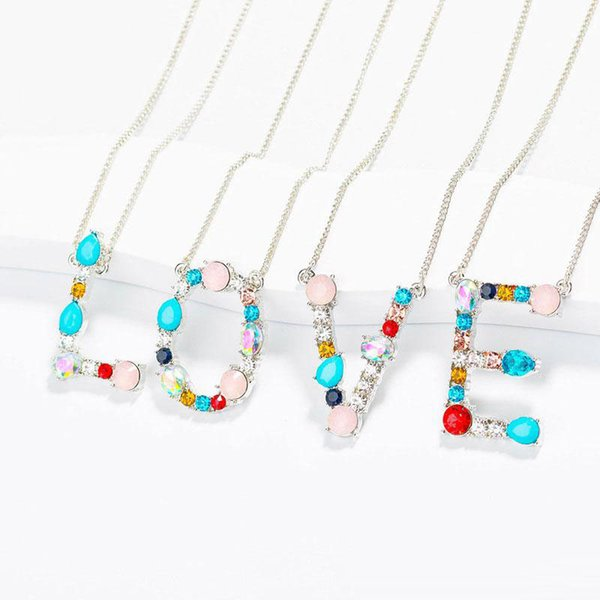 A-Z Anglais Alphabet Initial Collier Argent Plaqué Or Zircone Capitale Cristal Lettre Pendentif Collier De Mode Bijoux pour Femmes