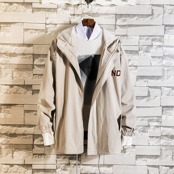 Pop2019 Pattern Cool Time Spring Fund Easy Loose Coat Trend Even Hat Men's Wear A Thin Section Of All-match Jacket