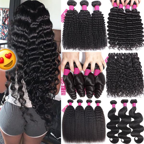 9A Brésilien cheveux humains Weave droite vague de corps vague profonde Kinky Curly lâche vague 100% brésilien péruvienne malaisienne Human Bundles cheveux