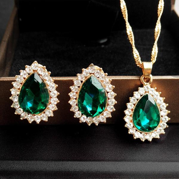 New Pattern Bride Ornaments Suit Wish Water Drop Diamond Insert Necklace Earrings Suit