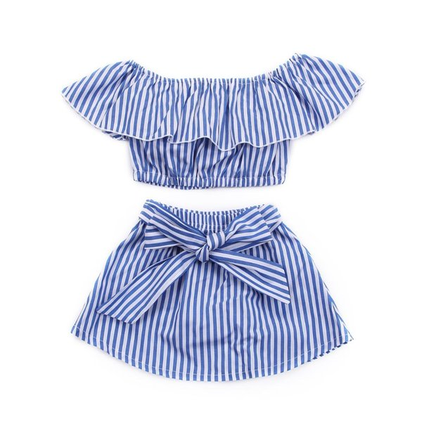 2019 New Brand Fashion Baby Girl Summer Off Shoulder Casual Top T-Shirt+Tutu Princess Party Stripe Skirts Set
