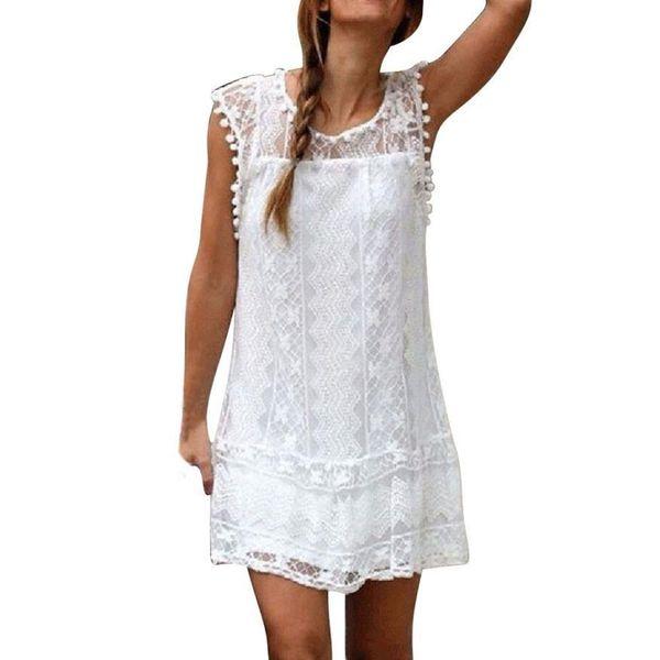 Women Casual Lace Sleeveless Beach Short Dress Summer Sexy Mini Dress white Sundress Vestidos Boho clothing fashion Robe Style